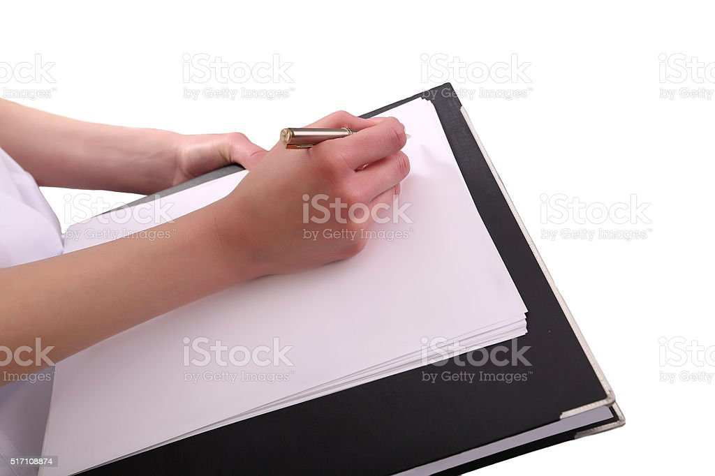 close up of female doctor writing prescription paper royalty-free stock photo