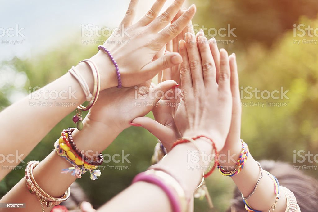 Close up of female hands stock photo