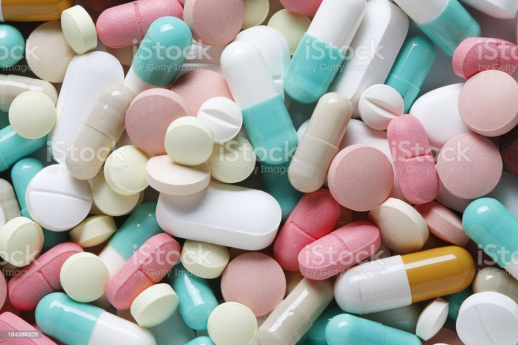 Close up of field of pills and prescription drugs stock photo