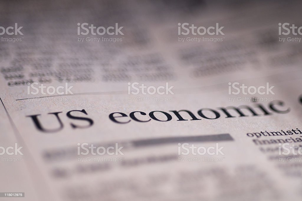 Close up of financial section in newspaper stock photo