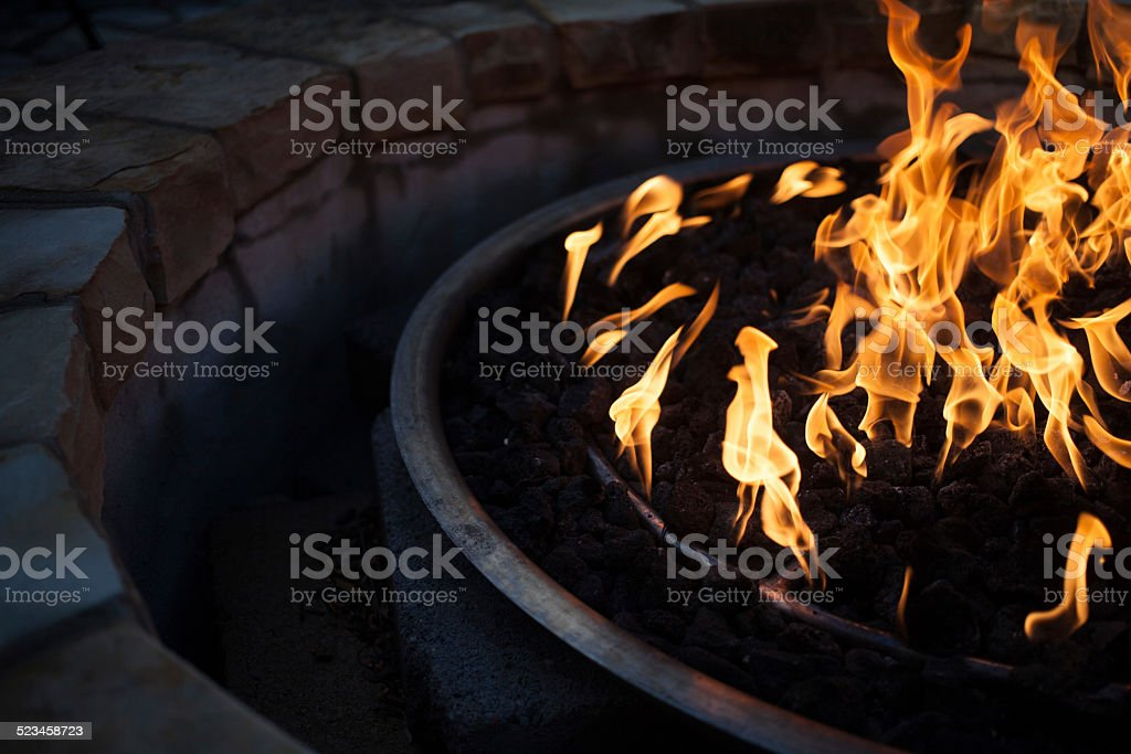 Close Up of Fire Pit stock photo