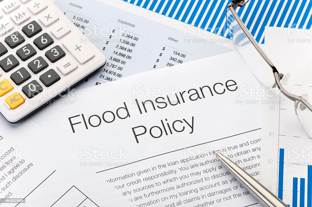 Close up of Flood insurance policy Form stock photo