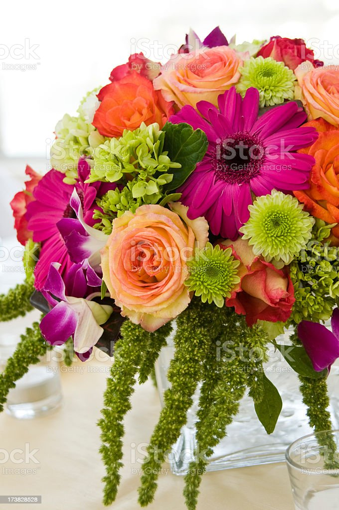 Close up of floral centerpiece at a wedding stock photo