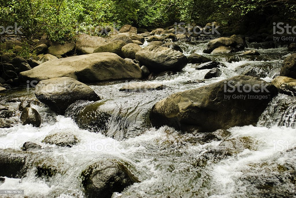 Close up of flowing river and rocks royalty-free stock photo