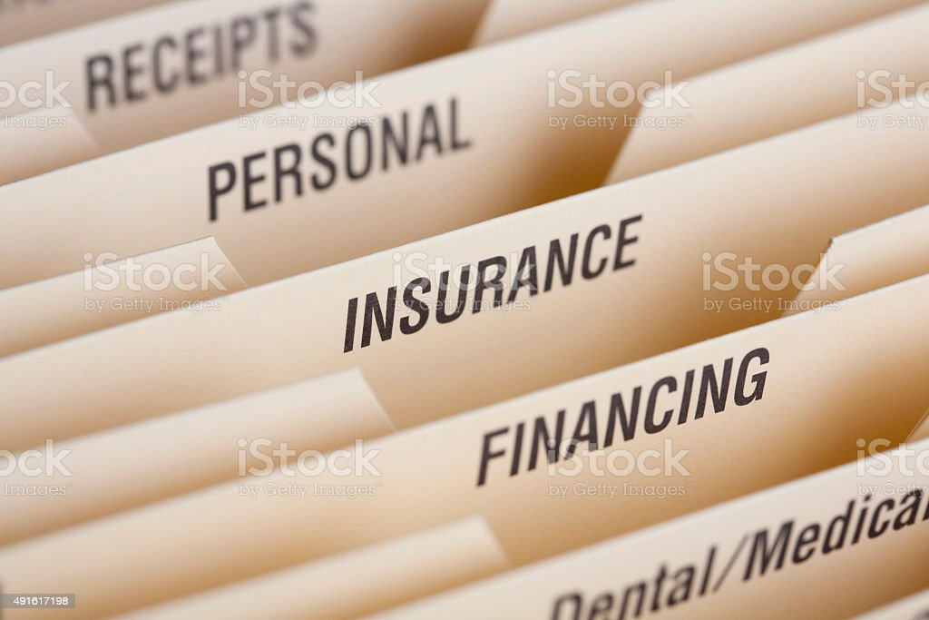 Close Up Of Folder For Household Bills stock photo