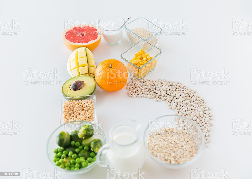 close up of food ingredients in letter b shape stock photo