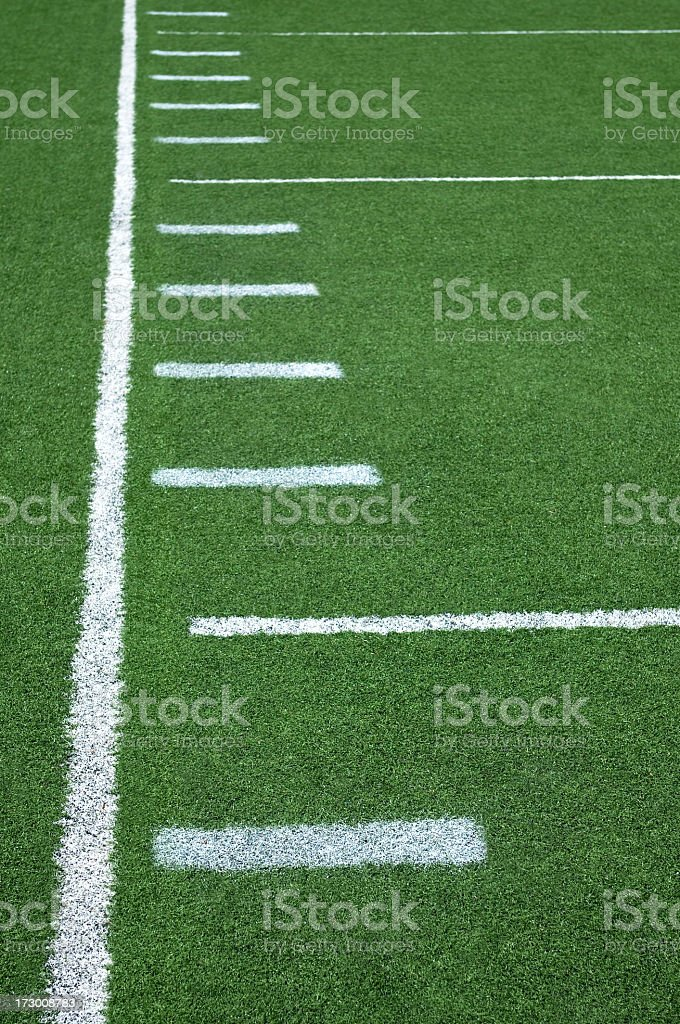 Close up of football field yard lines royalty-free stock photo