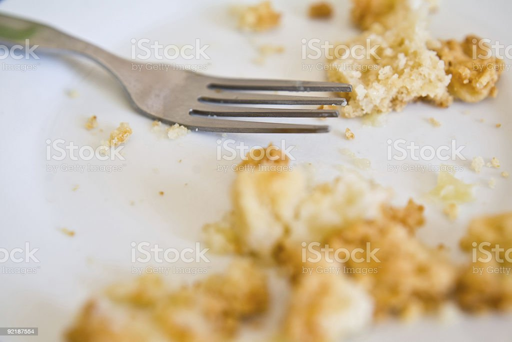 close up of fork on plate stock photo