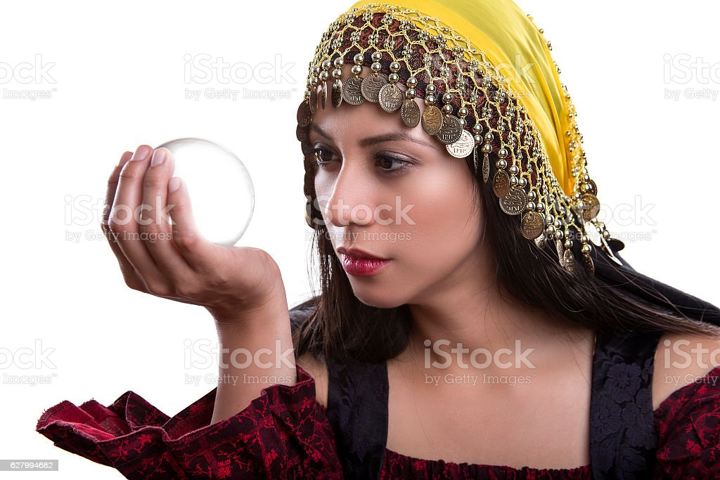 Close up of Fortune Teller and Crystal Ball stock photo