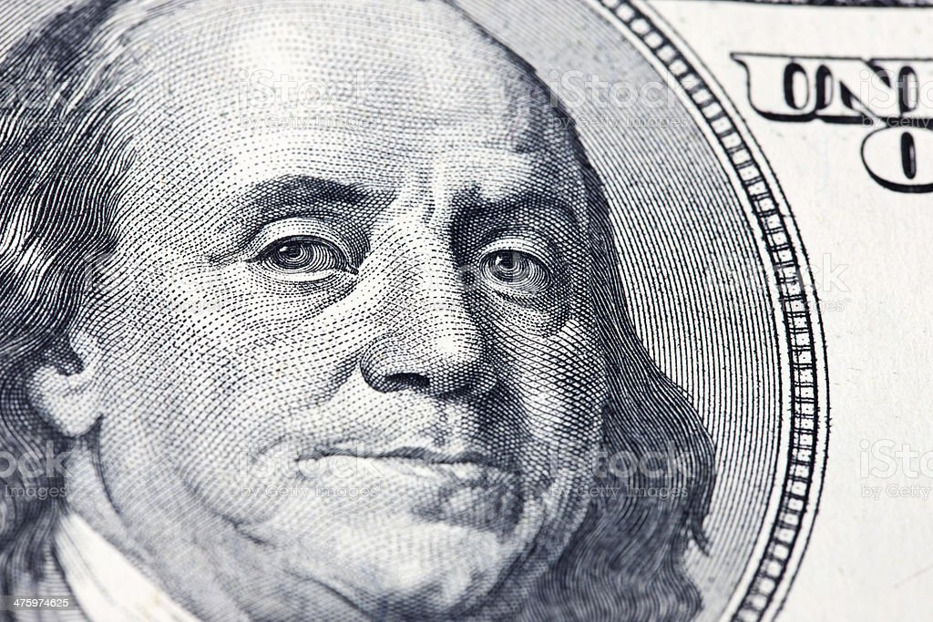 Close Up of Franklin on Hundred Dollar Bill royalty-free stock photo