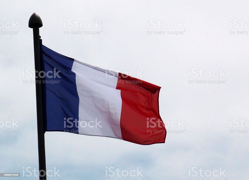 Close Up Of French Flag Waving In Street Of Paris stock photo