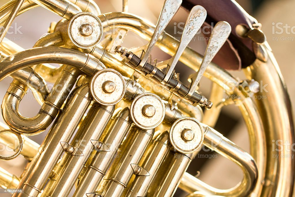 Close Up of French Horn Buttons stock photo