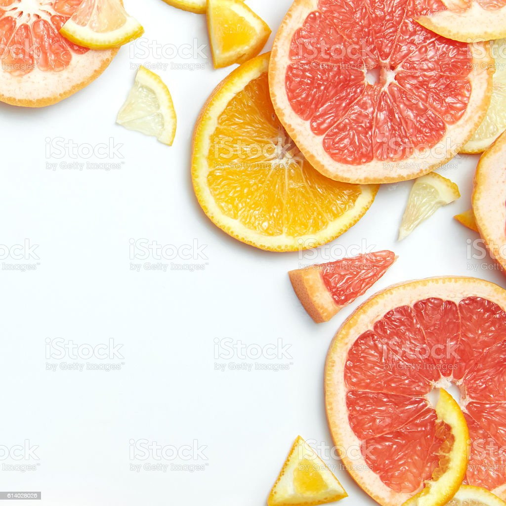 Close up of fresh citrus slices stock photo