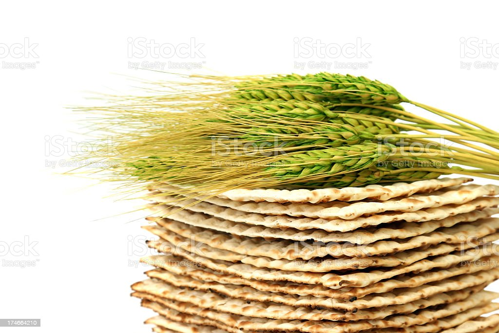 Close up of fresh wheat laying atop a pile of Matzoh stock photo