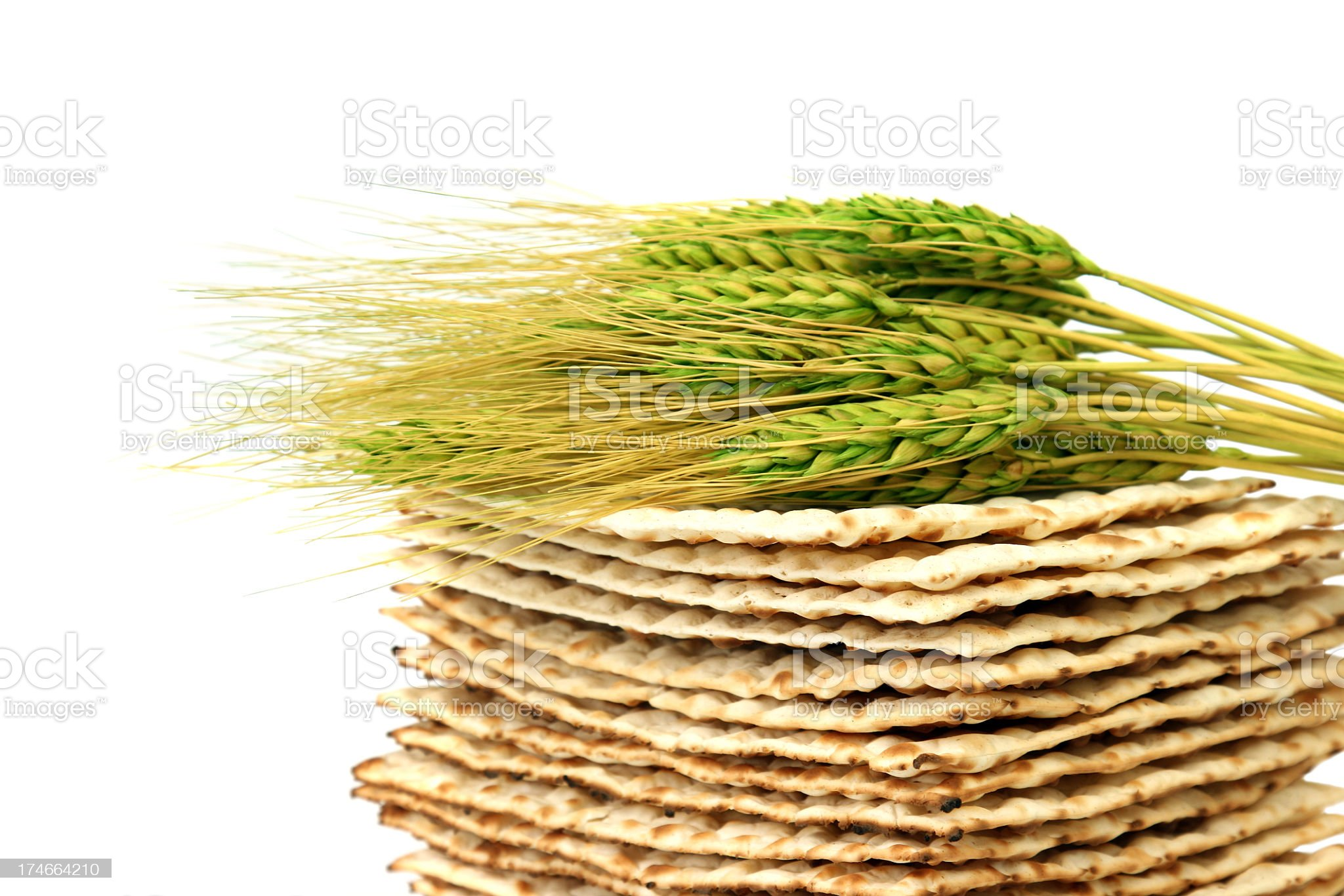 Close up of fresh wheat laying atop a pile of Matzoh royalty-free stock photo