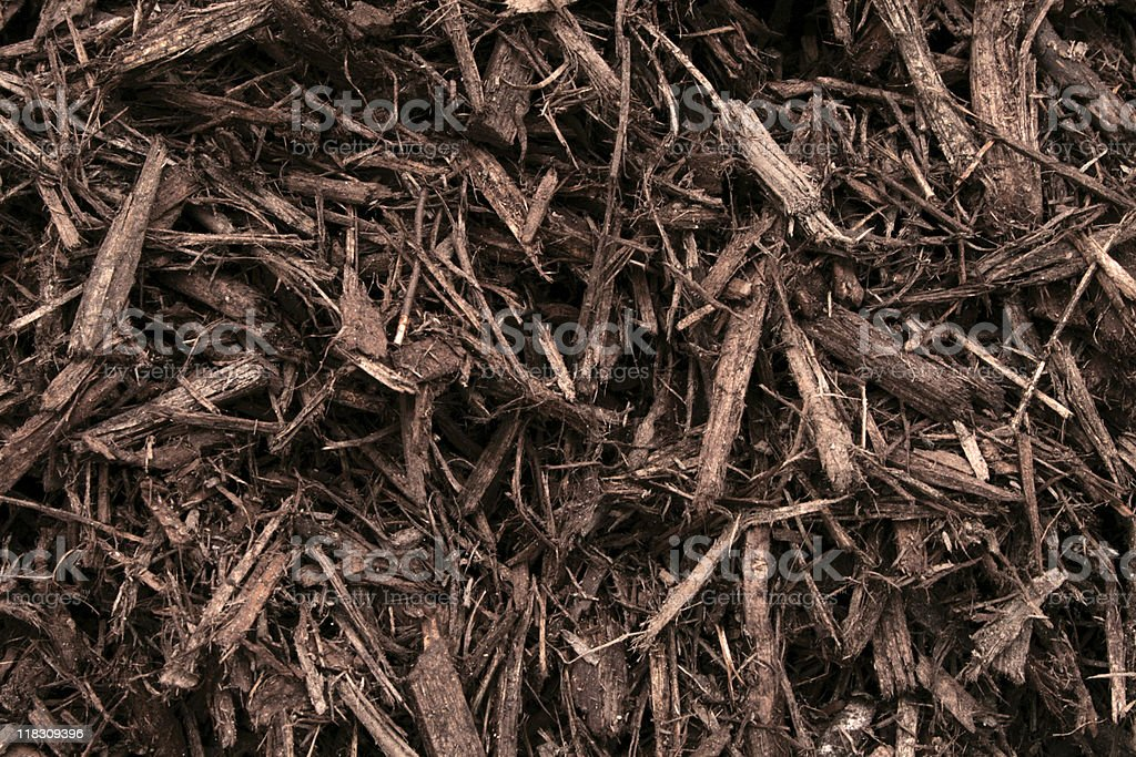 Close up of Freshly Laid Lawn Mulch royalty-free stock photo