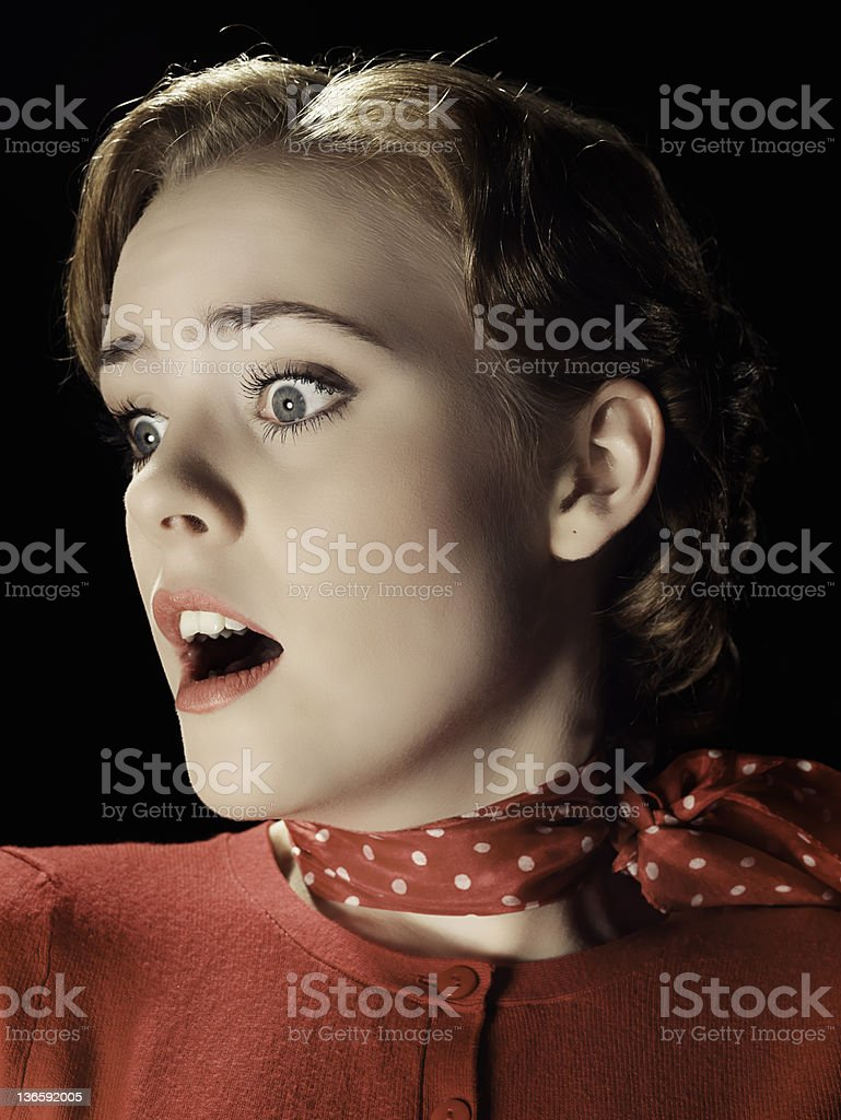 Close up of frightened girl gasping royalty-free stock photo