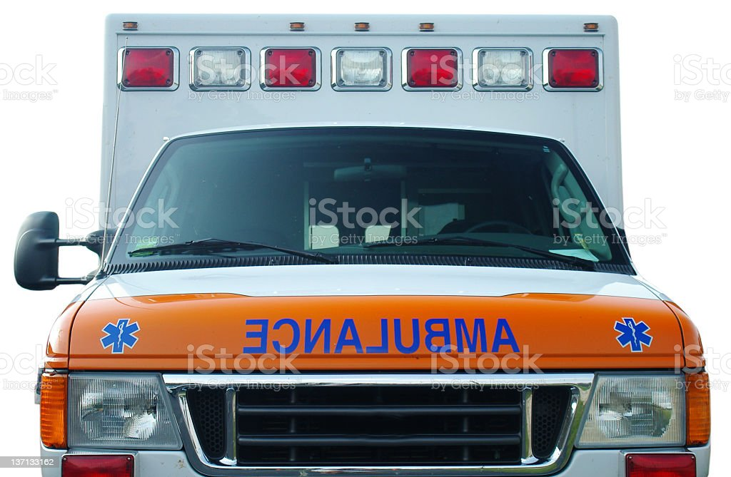 Close up of front of ambulance truck stock photo