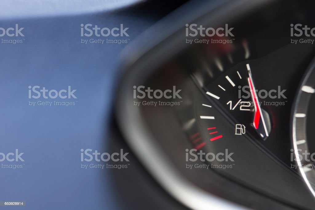 Close Up Of Fuel Gauge In Car Registering Full stock photo