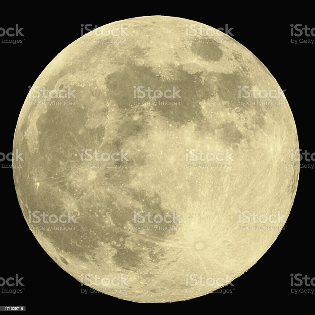 Close up of full moon on black background stock photo