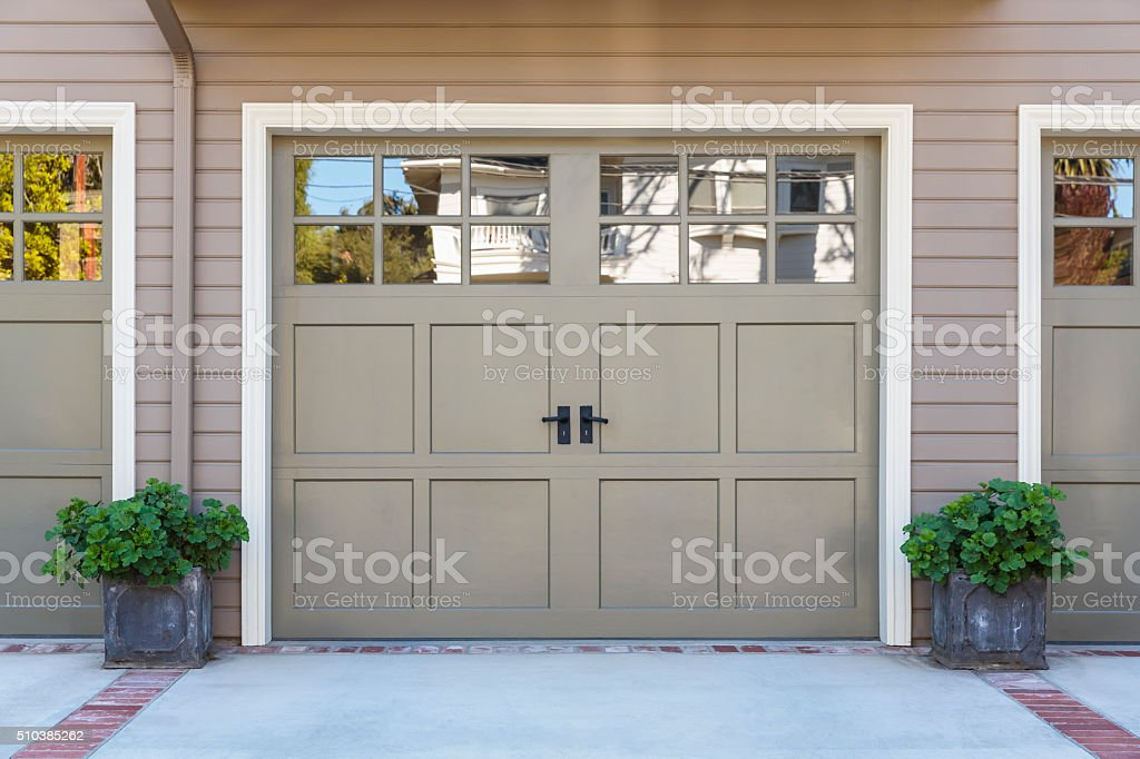 close up of garage door stock photo
