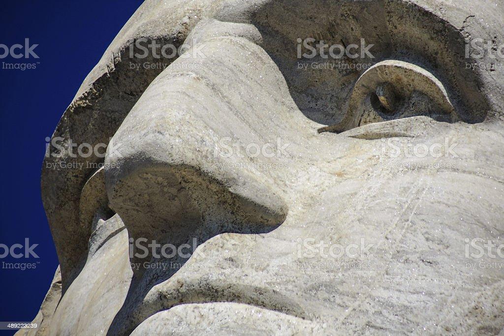 Close up of George Washington at Mount Rushmore royalty-free stock photo