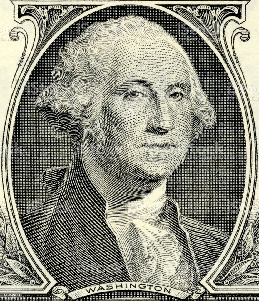 Close up of George Washington on the banknote stock photo