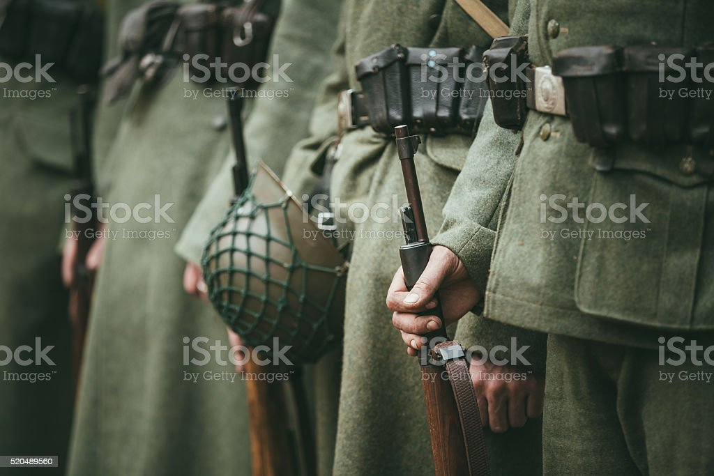 Close up of german military ammunition of a German soldier stock photo