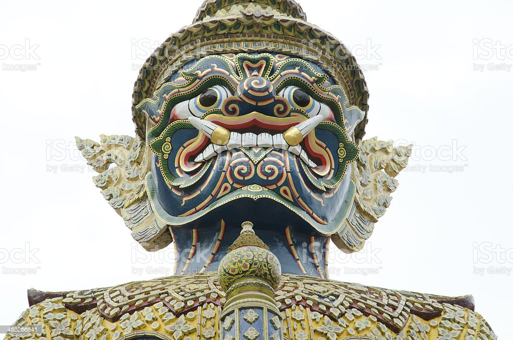 Close up of Giant Guardian in Grand Palace, Bangkok, Thailand royalty-free stock photo