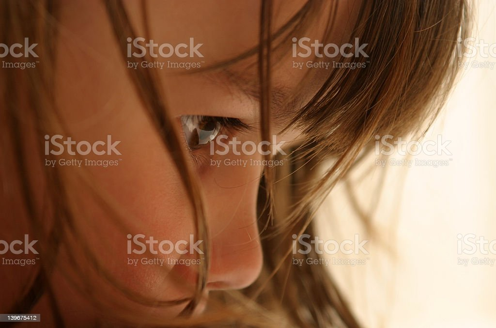 Close up of girl deep in thought royalty-free stock photo