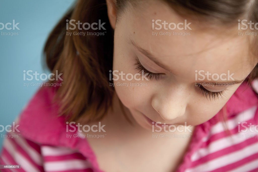 Close Up of Girl Student Doing Her Schoolwork royalty-free stock photo