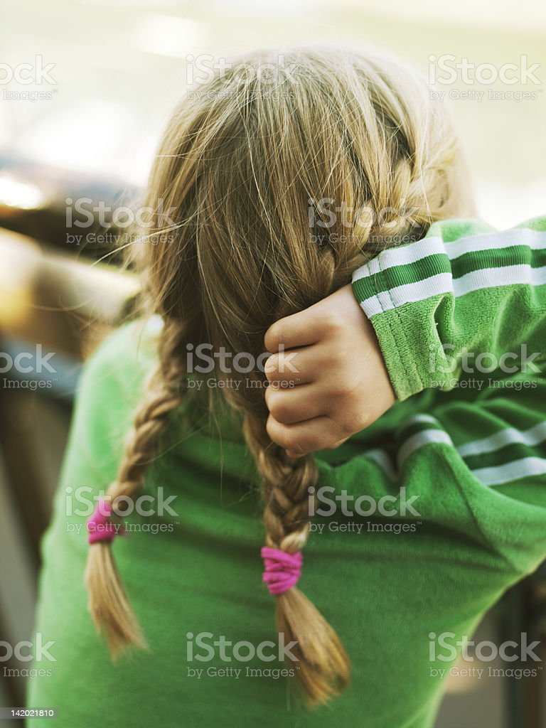Close up of girls braid pigtails stock photo