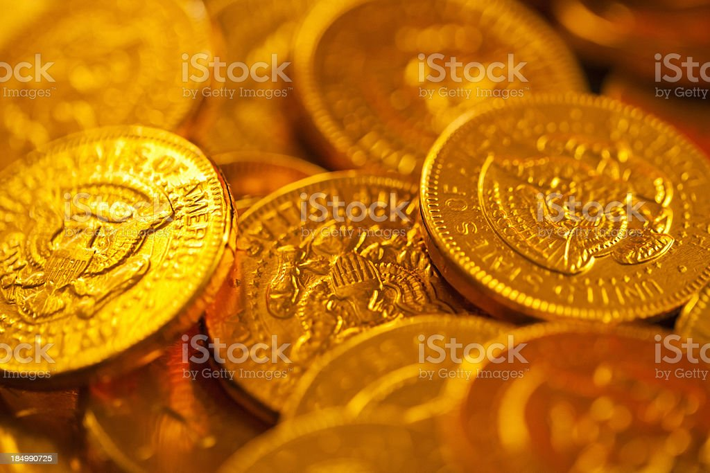 Close up of gold coins royalty-free stock photo