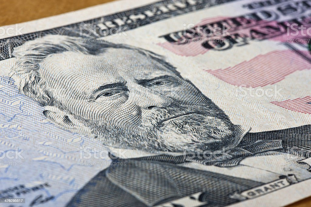 Close Up of Grant on Fifty Dollar Bill royalty-free stock photo