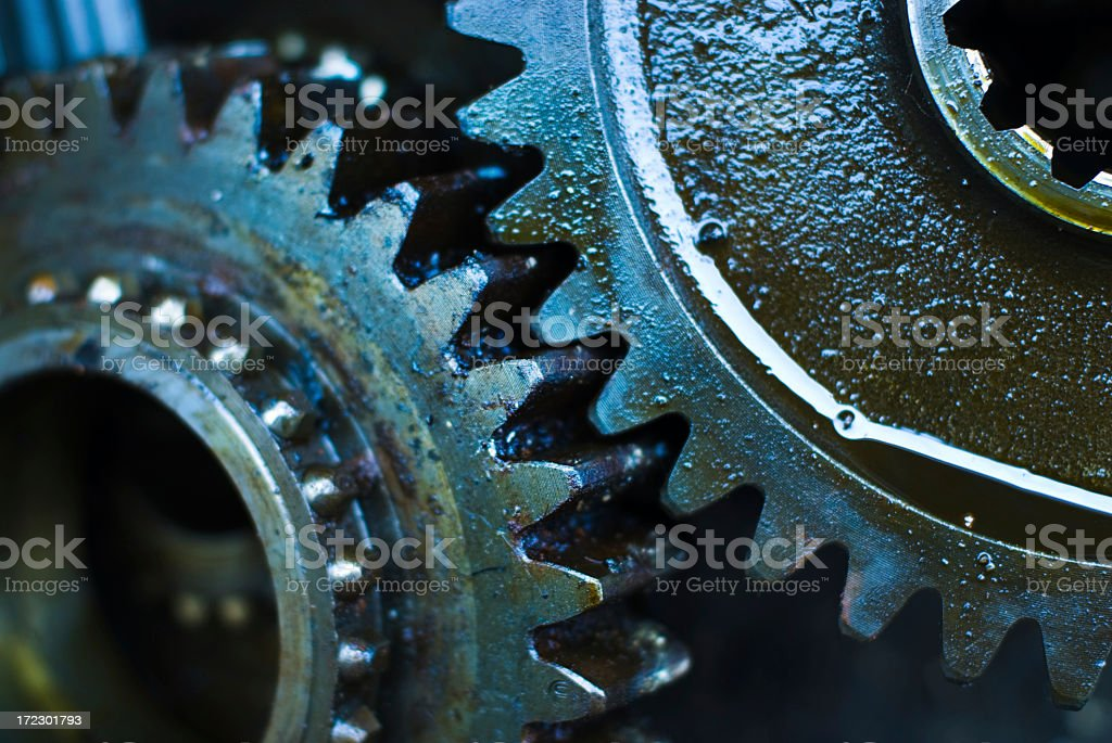 Close up of greasy and oily gears royalty-free stock photo