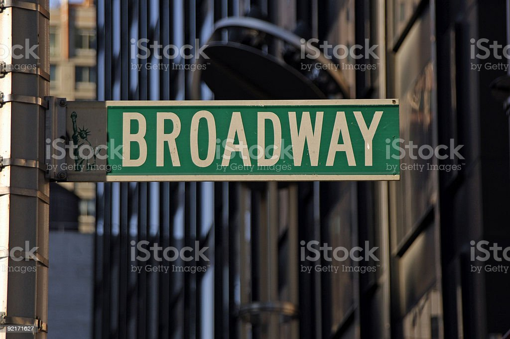 Close up of green and white Broadway street sign royalty-free stock photo