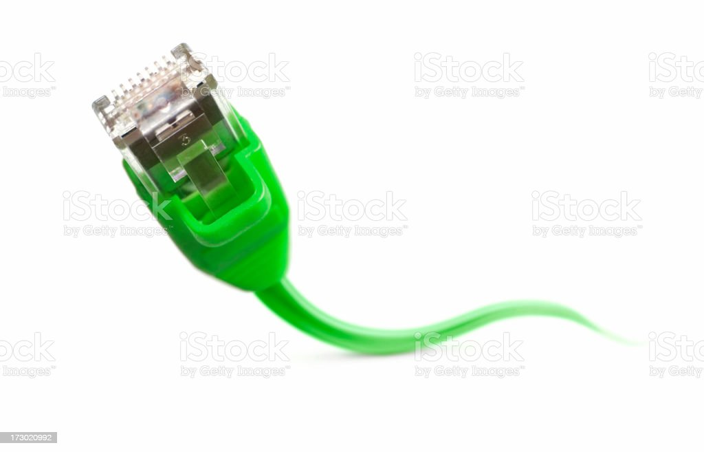 Close up of green network cable stock photo