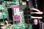 Close up of green system board with microchips