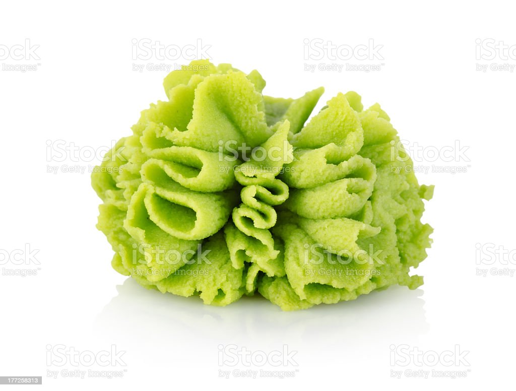 Close up of green Wasabi cabbage stock photo