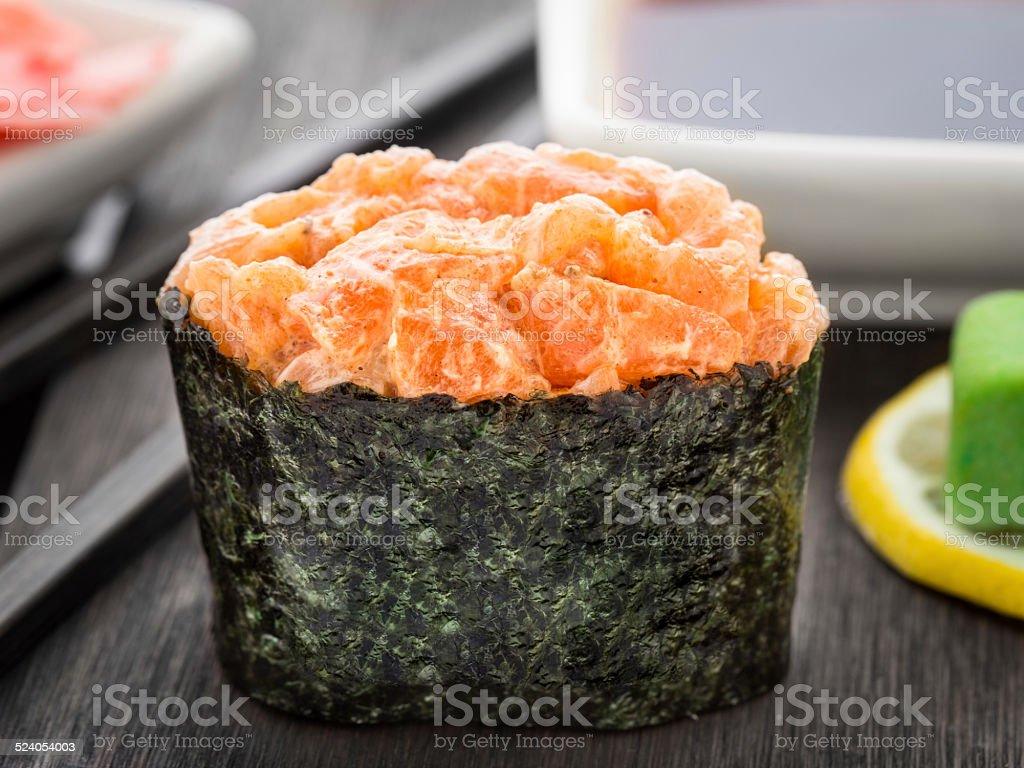 Close up of gunkan sushi stock photo