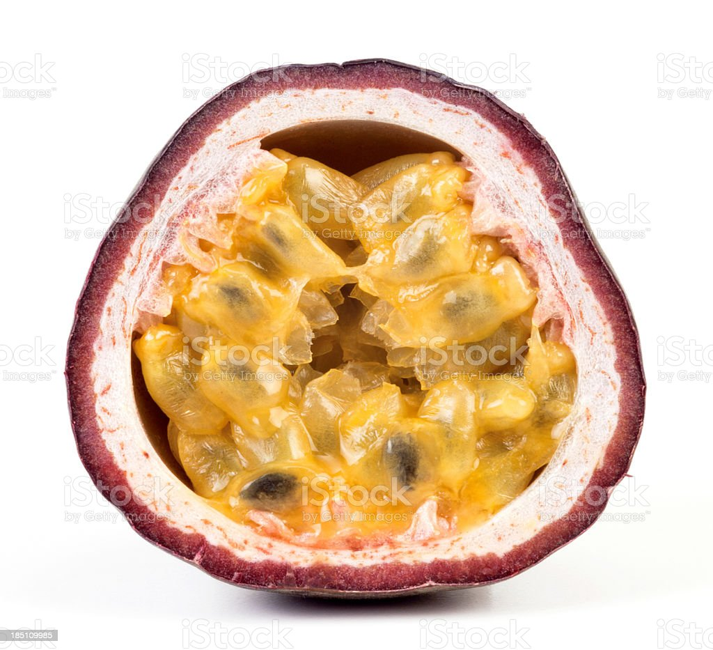 Close up of halved passion fruit stock photo