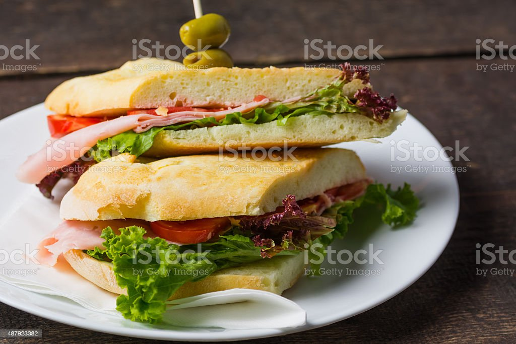 Close up of ham Sandwich royalty-free stock photo