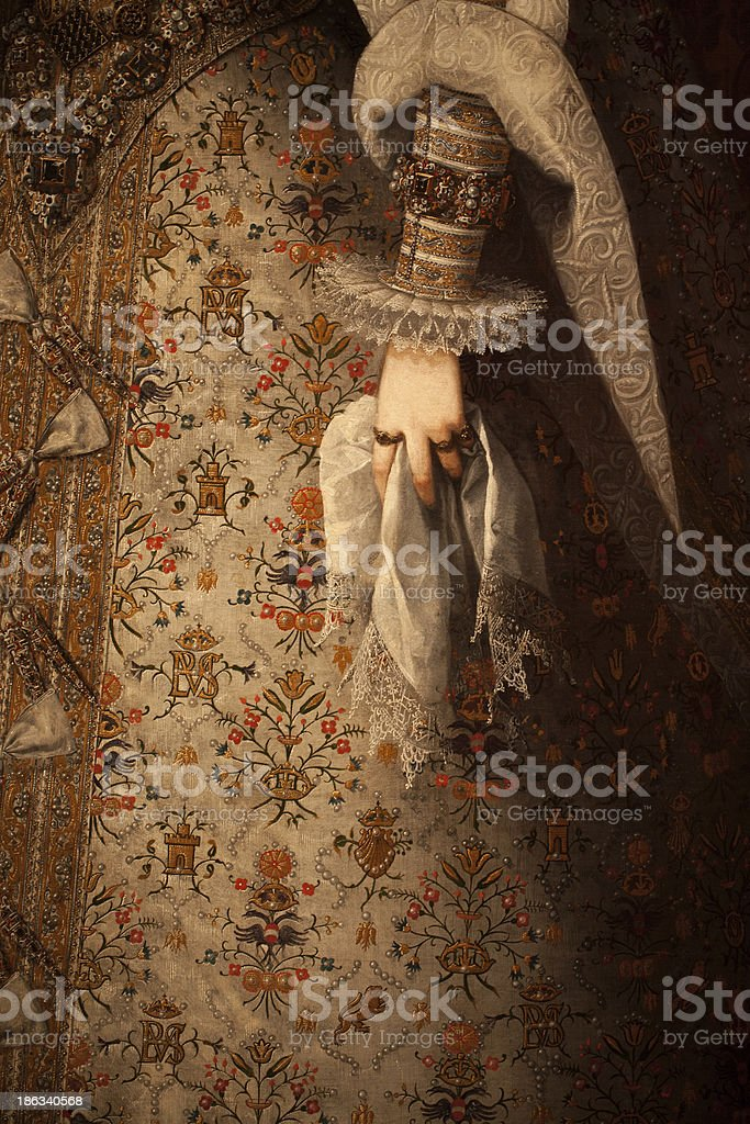 Close up of hand on an old painting stock photo
