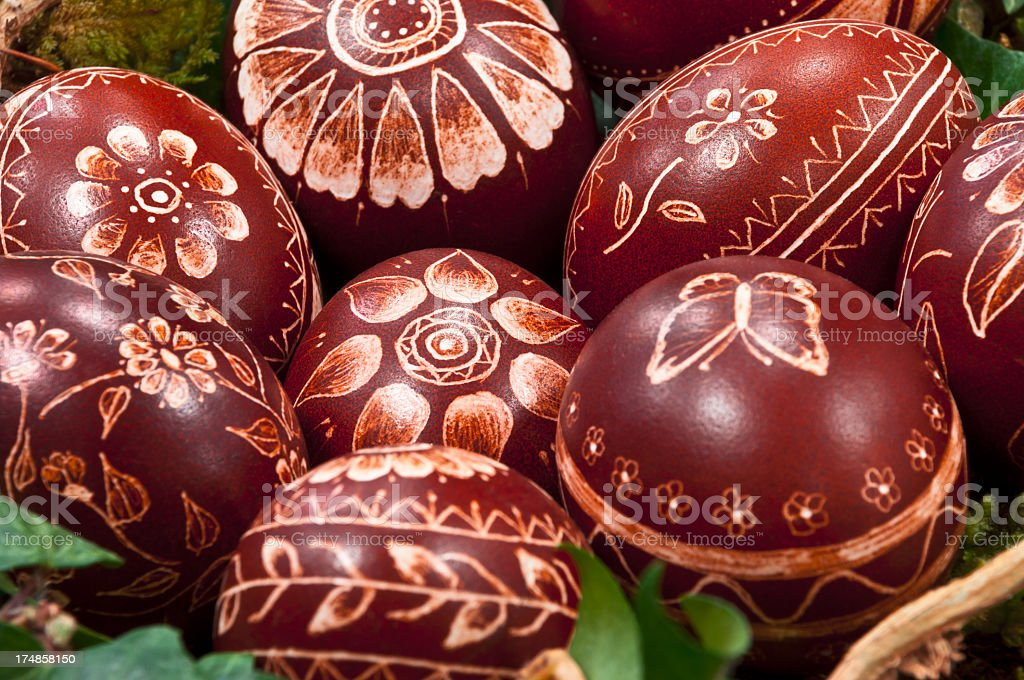 Close up of hand painted Easter eggs. stock photo