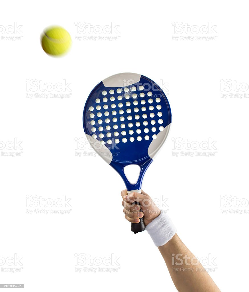 close up of hand with a tennis paddle stock photo