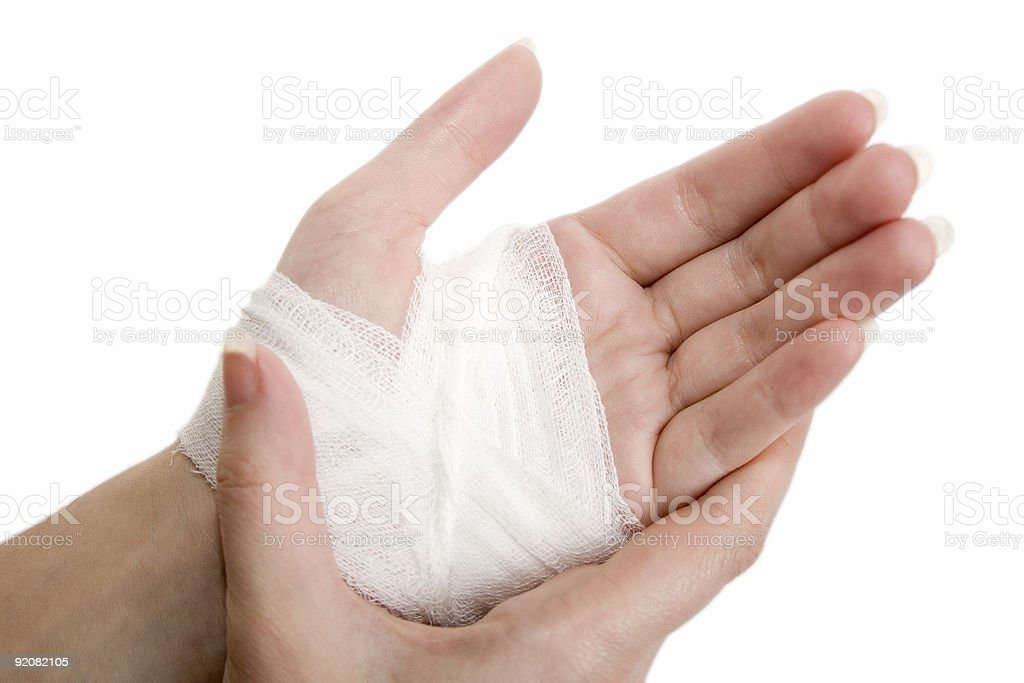 Close up of hand wrapped in bandage stock photo