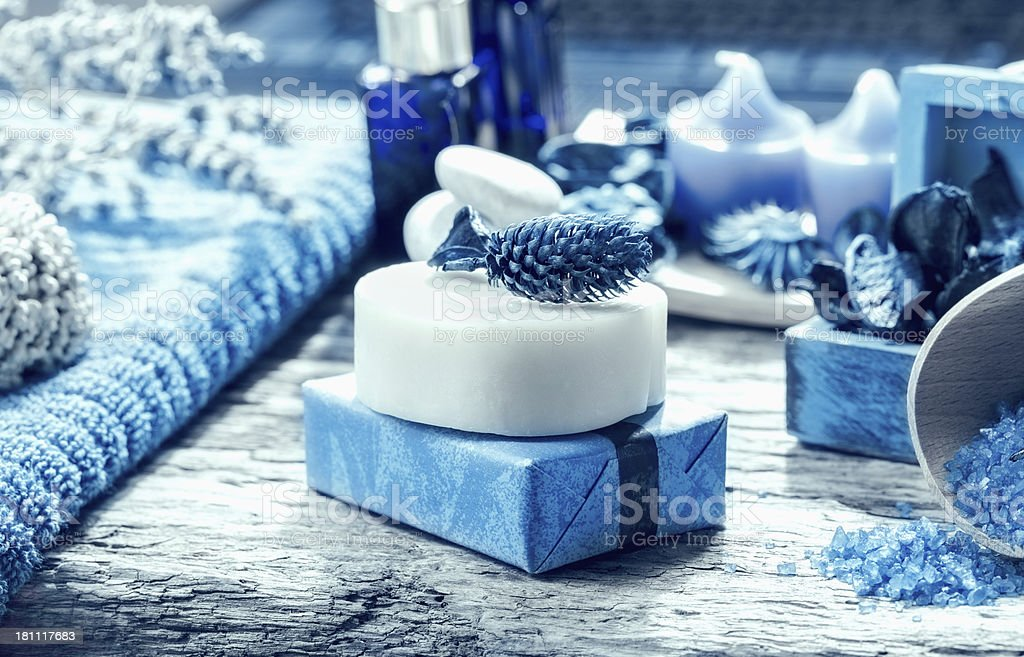 Close up of handmade cosmetic products stock photo