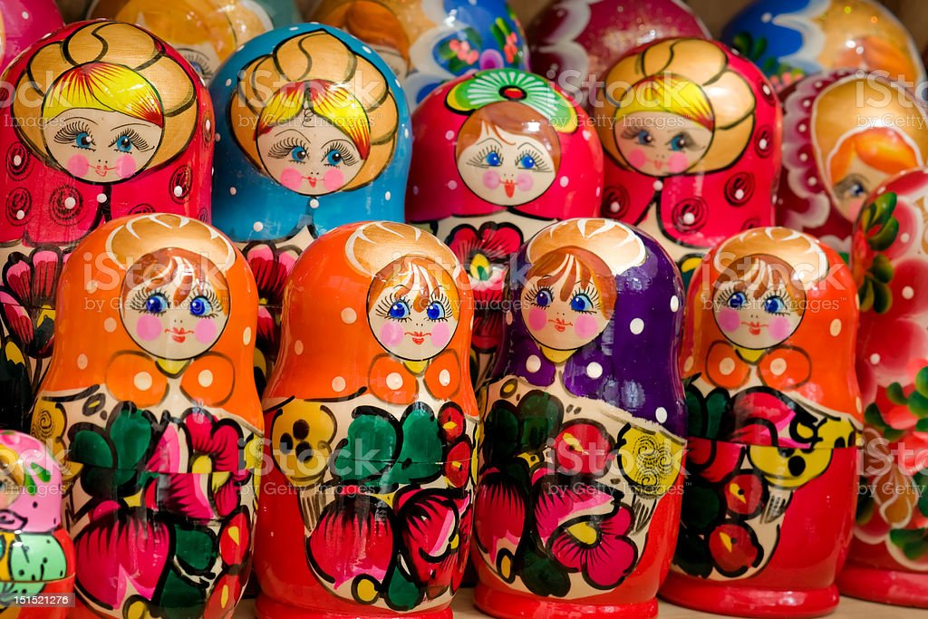 Close up of handmade russian matryoshka stock photo