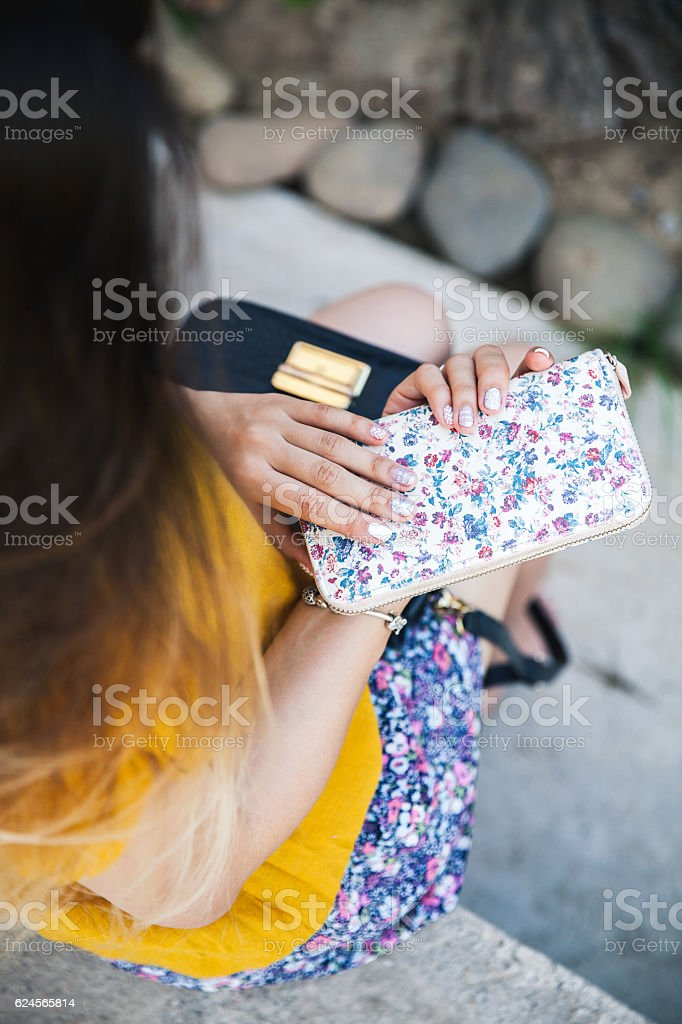 Close up of hands of woman showing the ring stock photo