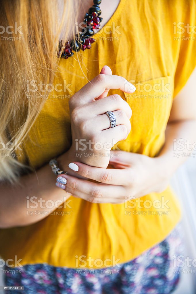 Close up of hands woman showing the ring stock photo